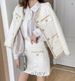 Tweed Plaid Sur Mesure Jupe En Or Chic Blazer Veste Costume Costume Set Crème Bleu