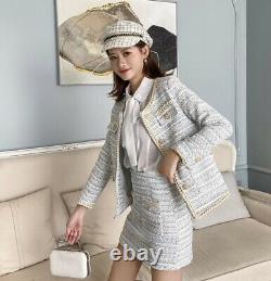 Tweed Plaid Sur Mesure Lapel Chic Jupe Or Blazer Veste Costume Costume Set Crème