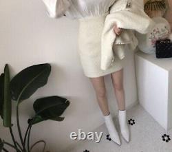 Tweed Twill Taille Chic Perle Jupe Blazer Veste Costume Costume Set Crème Blanc