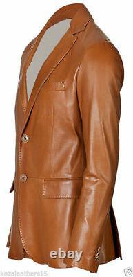 Veste Blazer En Cuir En Cuir Lambskin Doux Pour Homme Tan Two Button Men Outfit Coat