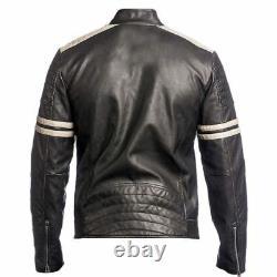 Veste De Motard Pour Homme 100% Véritable Cuir D'agneau En Cuir De Moto Noir Outfit