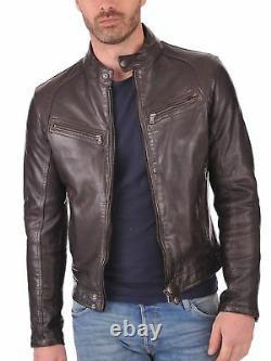 Veste En Cuir Real Homme Genuine Soft Lambskin Brown Biker Motorcycle Outfit