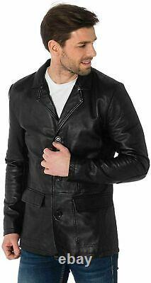 Veste En Cuir Véritable Blazer Homme Véritable Lambskin Doux Noir Trois Boutons Outfit
