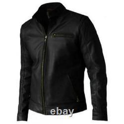 Veste En Cuir Véritable D'agneau Pour Homme Black Biker Motorcycle Classic Jacket Outfit