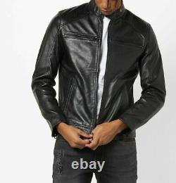 Veste En Cuir Véritable Hommes Moto Moto Véritable Lambskin Cuir Noir Outfit