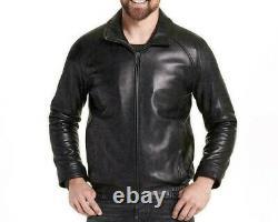 Veste En Cuir Véritable Noir Pour Homme Biker Motorcycle Real Lambskin Leather Outfit