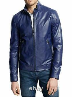 Veste En Cuir Véritable Pour Les Hommes Moto Biker Real Lambskin Blue Basic Outfit