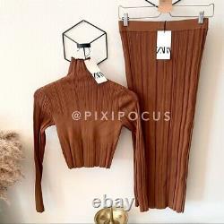 Zara New 2 Piece Knit Co-ord Set Jupe + Sweater Top Rouge Orange M Medium