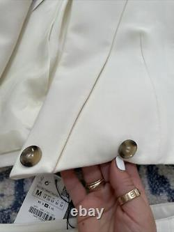 Zara Oyster Blanc Cropped Blazer & Jupe Co Ord Matching Set Outfit Taille M Bnwt