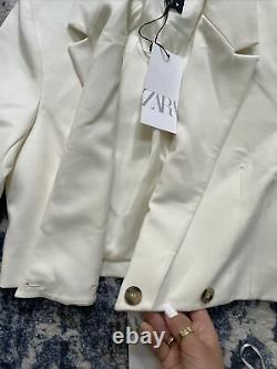Zara Oyster Blanc Cropped Blazer & Jupe Co Ord Matching Set Outfit Taille S Bnwt